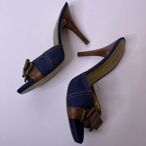 Guess Denim & Leather Bow Heels